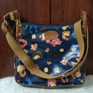 Fossil coated canvas navy floral crossbody bag